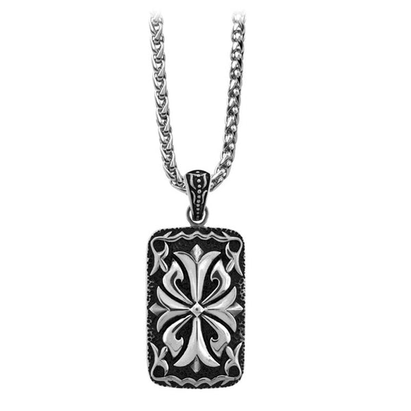 Inox Jewelry Men's Stainless Steel Gothic Cross Dog Tag Necklace