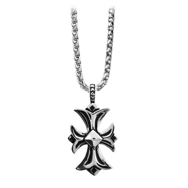 Inox Jewelry Men's Stainless Steel Gothic Cross Necklace