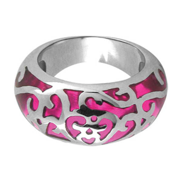 Inox Jewelry Pink Resin Swirl 316L Stainless Steel Ring