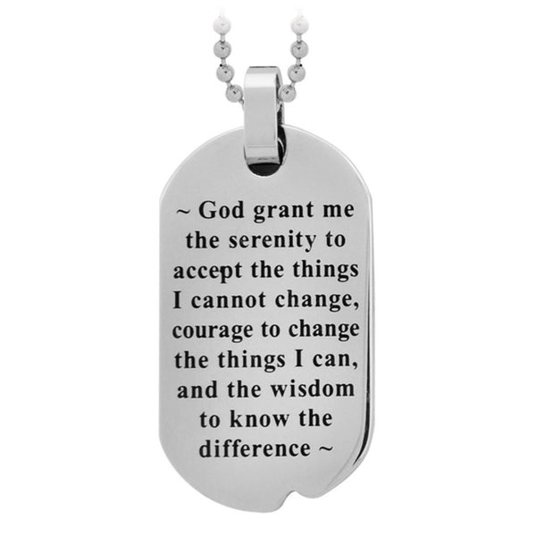 Inox Jewelry Stainless Steel Serenity Prayer Large Necklace