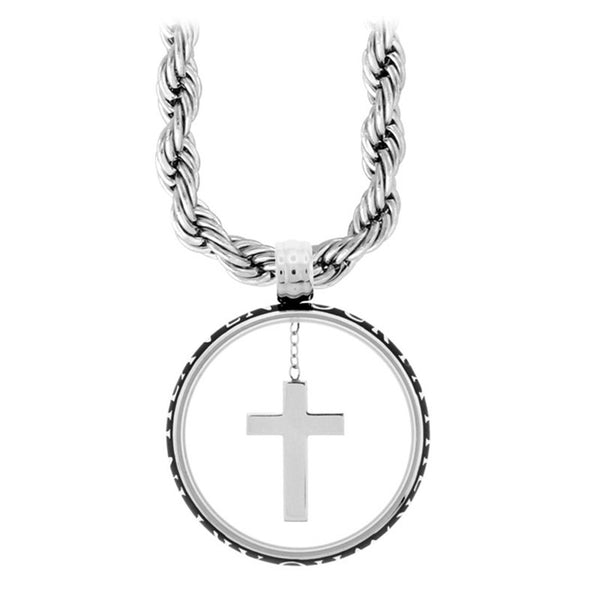 Inox Jewelry Women's Stainless Steel Glass Encased Cross Necklace