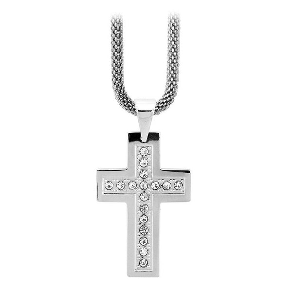 Inox Jewelry Women's Stainless Steel CZ Studded Cross Necklace