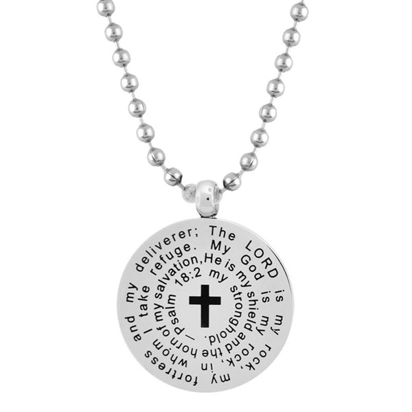 Inox Jewelry Stainless Steel Round Religious Verse Necklace