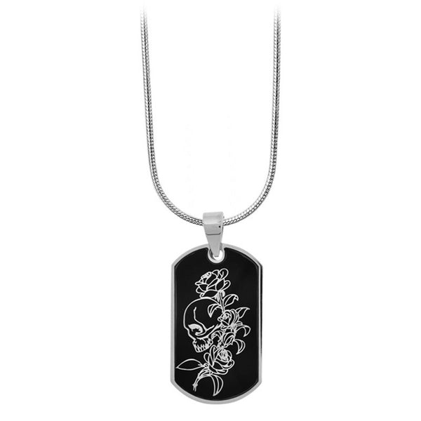Inox Jewelry Men's Stainless Steel Black PVD Skull Rose Flower Dog Tag Necklace