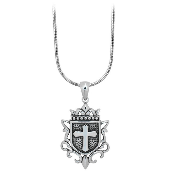 Inox Jewelry Men's Stainless Steel Cross Heraldry Necklace