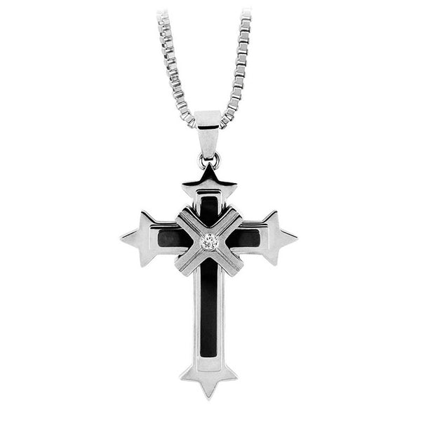 Inox Jewelry Men's Stainless Steel  CZ  Mounted X Cross Necklace
