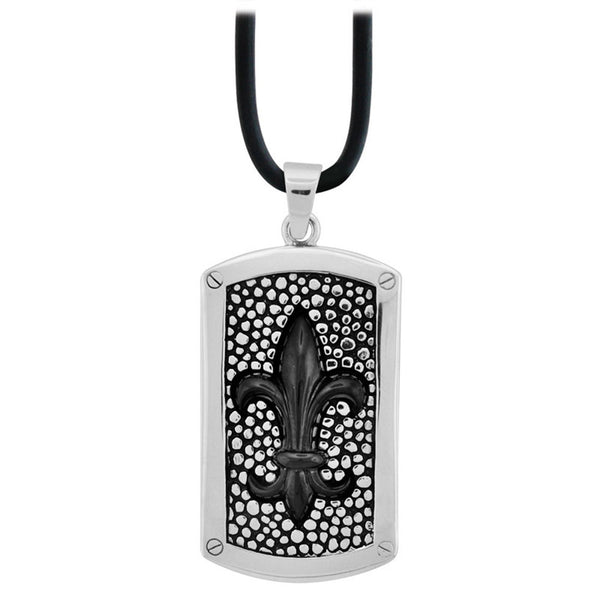Inox Jewelry Men's Stainless Steel Black PVD Fleur De Lis Necklace