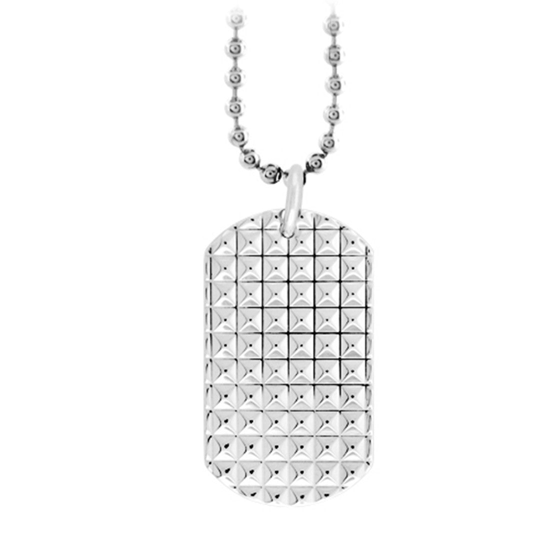 Inox Jewelry Men's Stainless Steel Ornate Engrave able Dog Tag Necklace