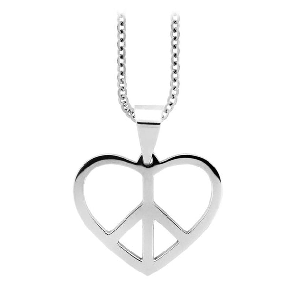 Inox Jewelry Women's Stainless Steel Heart Shaped Peace Sign Necklace