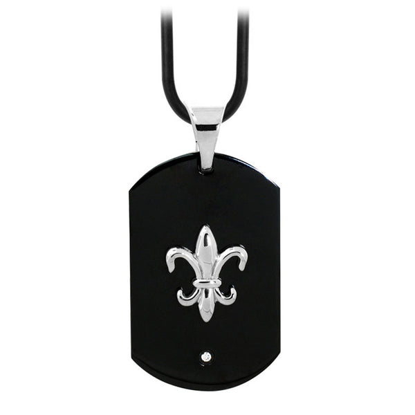 Inox Jewelry Men's Stainless Steel Black PVD Fleur De Lis Dog Tag Necklace