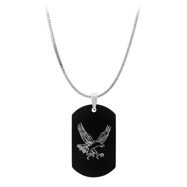 Inox Jewelry Men's Stainless Steel Two Face Eagle Dog Tag Necklace