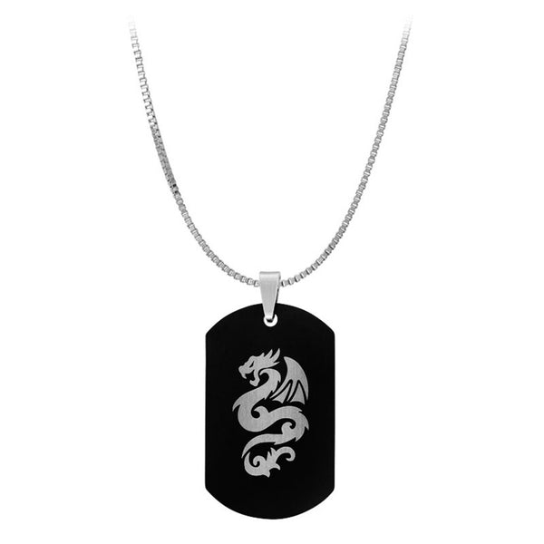 Inox Jewelry Men's Stainless Steel Two Dragon Dog Tag Necklace