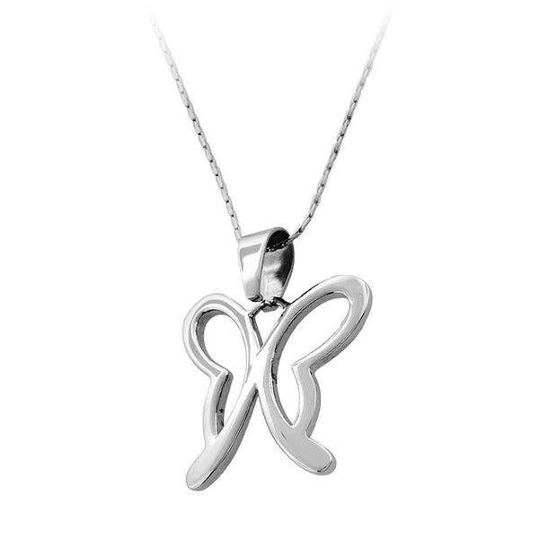 Inox Jewelry Women's Stainless Steel Hollow Butterfly Necklace