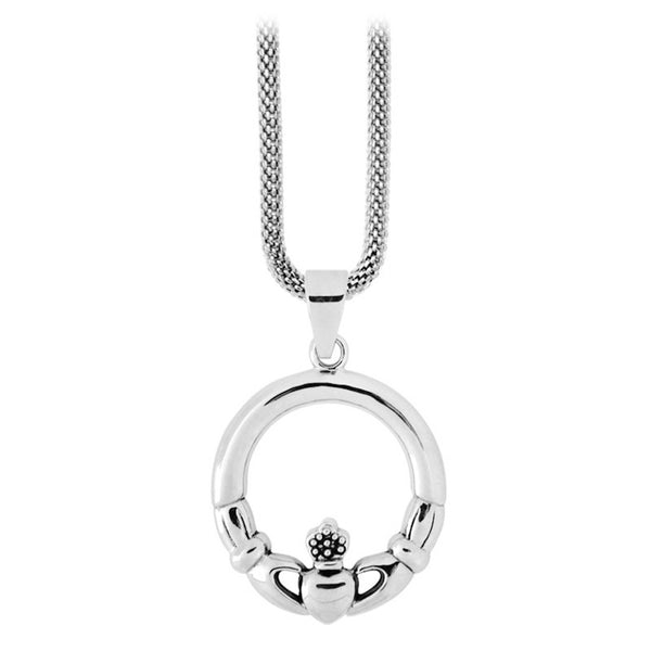 Inox Jewelry Women's Stainless Steel Round Claddagh Symbol Necklace