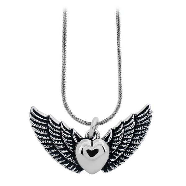 Inox Jewelry Women's Stainless Steel Winged Heart Necklace
