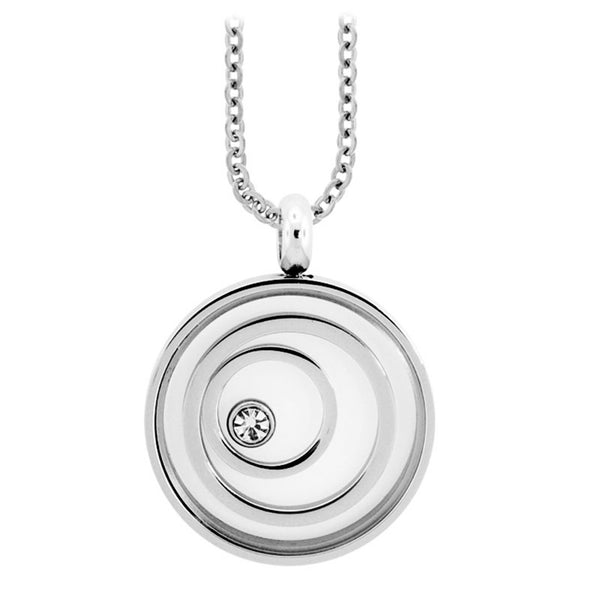 Inox Jewelry Women's Stainless Steel CZ Swirl Necklace