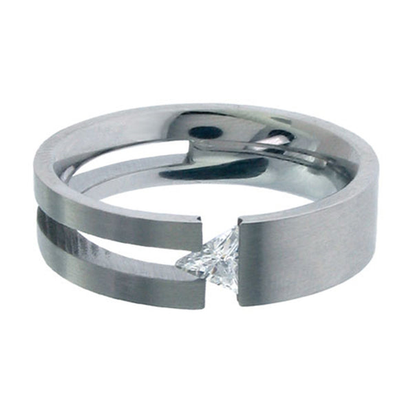 Inox Jewelry 316L Stainless Steel Tension Set Triangle Cubic Zirconia Ring