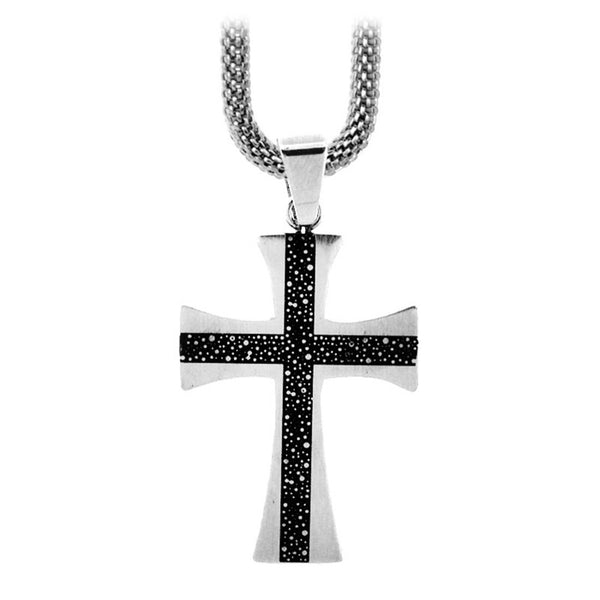 Inox Jewelry Men's Stainless Steel Black Plated Cross Necklace