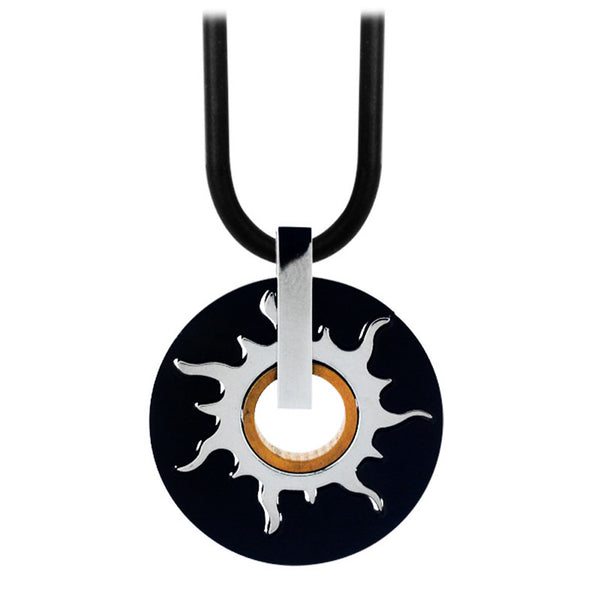 Inox Jewelry Men's Stainless Steel Black Gold PVD Rotating Sun Necklace