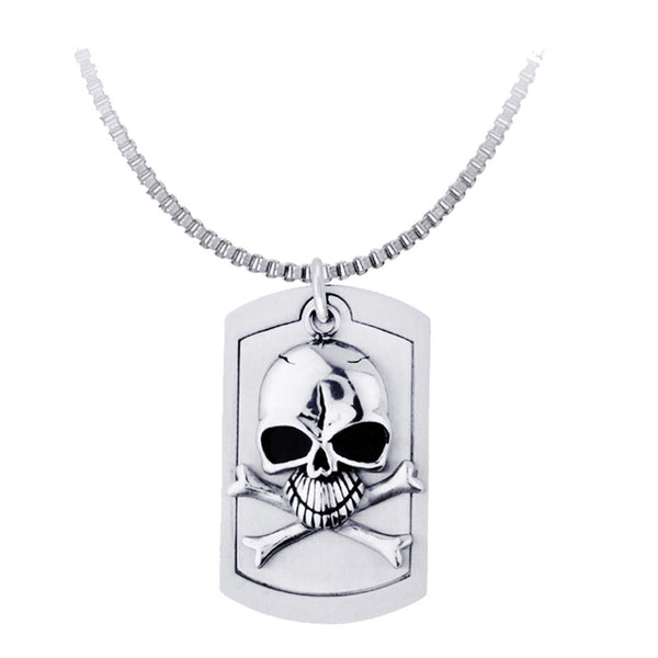 Inox Jewelry Men's Stainless Steel Skull and Bones Dog Tag Necklace