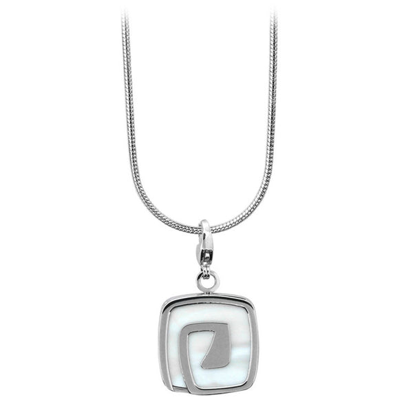 Inox Jewelry Men's Stainless Steel Square Shell Swirl Necklace