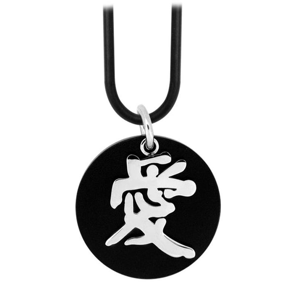 Inox Jewelry Stainless Steel Chinese Symbol 'Love' Necklace