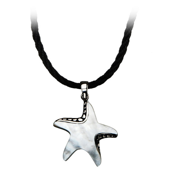 Inox Jewelry Women's Stainless Steel Mother of Pearl Star Necklace.