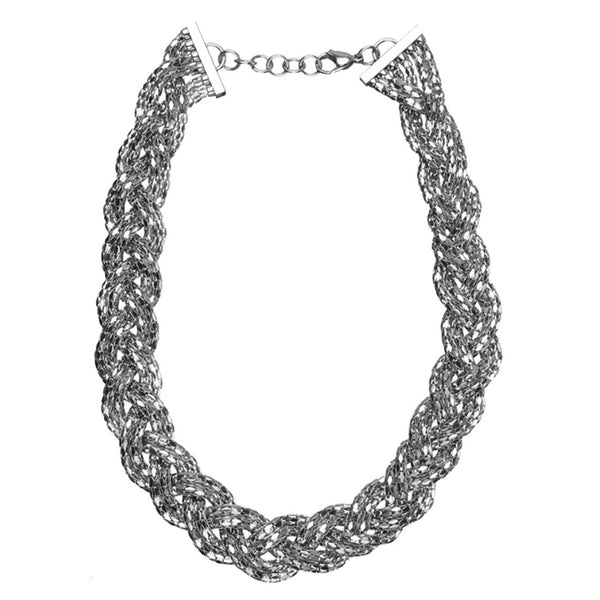 Inox Jewelry Women's Stainless Steel Braided Sparkle Mesh Necklace.