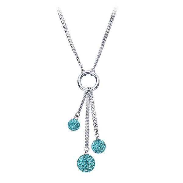 Inox Jewelry Women's Stainless Steel Silver Plated Light Blue Ferido Necklace.