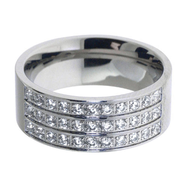 Inox Jewelry 316L Stainless Steel Three Row Bling Ring