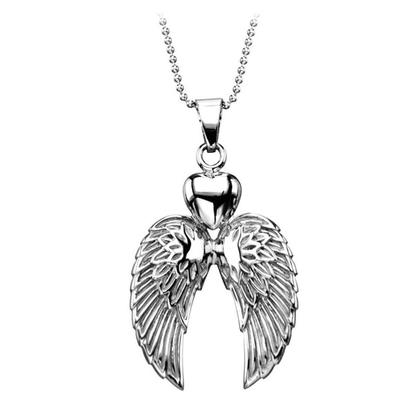 Inox Jewelry Women's Stainless Steel Double Winged Heart Necklace