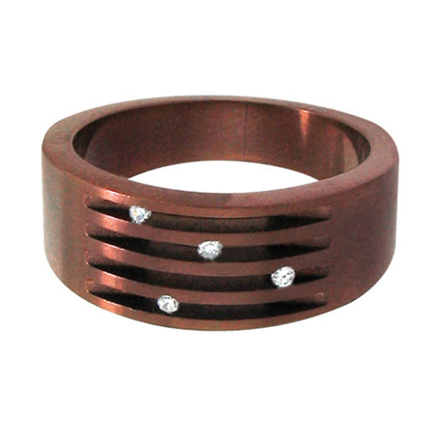 Inox Jewelry Cappuccino Cubic Zirconia 316L Stainless Steel Ring