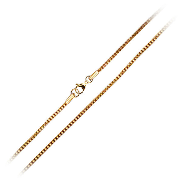 Inox Jewelry Stainless Steel 2.4mm Gold PVD Mesh Chain Necklace