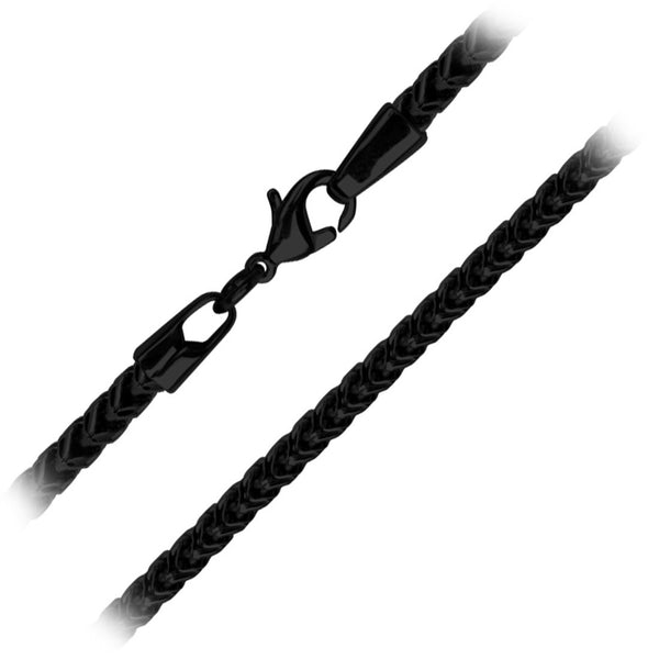 Inox Jewelry Stainless Steel 4mm Black IP Franco Chain
