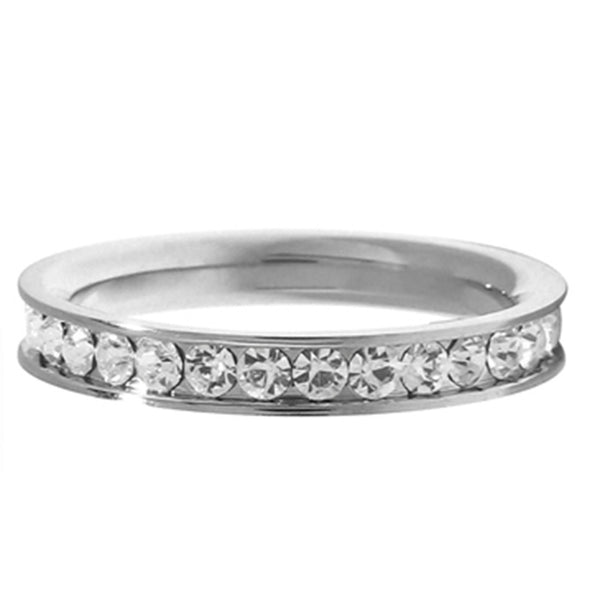 Inox Jewelry Cubic Zirconia Band 316L Stainless Steel Ring