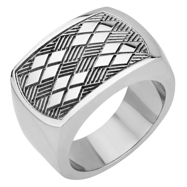 Inox Jewelry Men's Stainless Steel Chess Pattern Ring