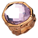 Inox Jewelry Women's Stainless Steel Cappuccino PVD Pink Crystal Cocktail Ring