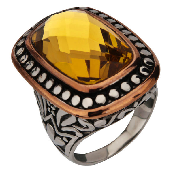 Inox Jewelry Women's Stainless Steel Topaz Crystal Cocktail Ring