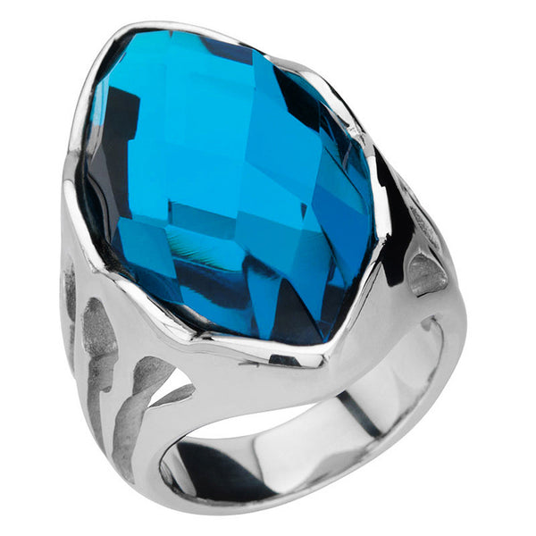 Inox Jewelry Women's Stainless Steel Sapphire Crystal Cocktail Ring