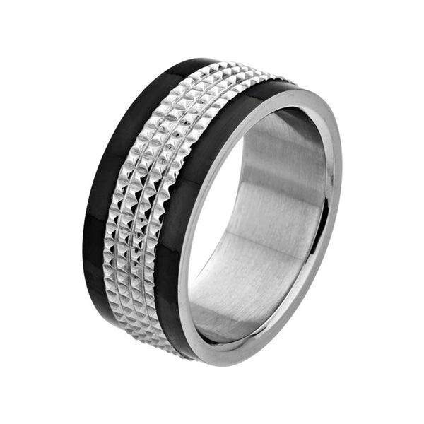 Inox Jewelry Men's Stainless Steel Black PVD Studded Center Ring