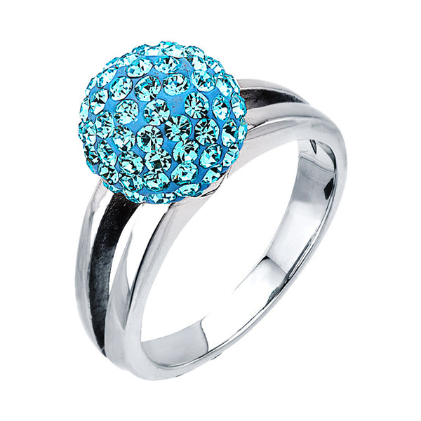 Inox Jewelry Women's Stainless Steel Silver Plated Light Blue Ferido Ball Ring