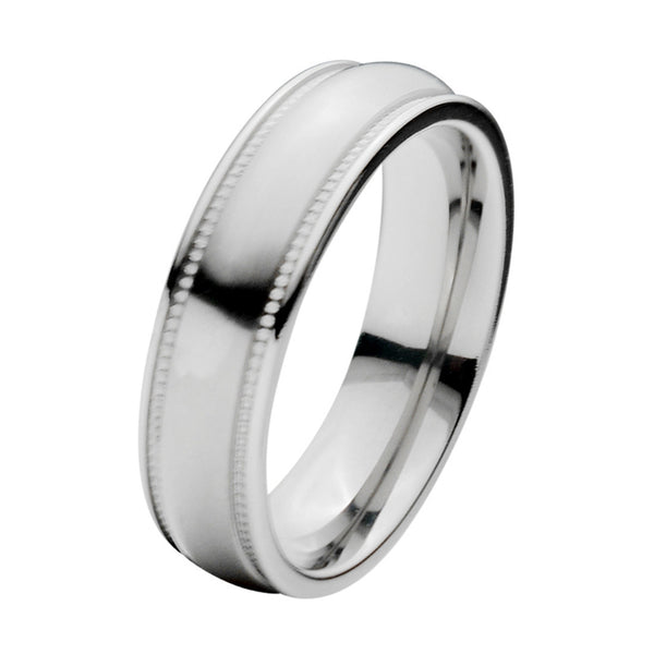 Inox Jewelry Men's Titanium 6mm Patterned Polished Band Ring