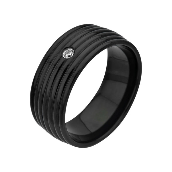 Inox Jewelry Men's Stainless Steel Black IP CZ Seven Groove Ring