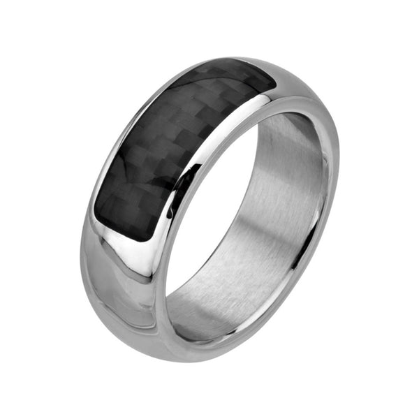 Inox Jewelry Men's Stainless Steel Black Carbon Fiber Ring
