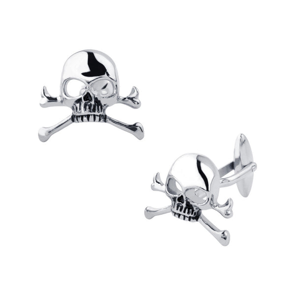 Inox Jewelry Men's Stainless Steel Skull and Crossbones Cuff Links