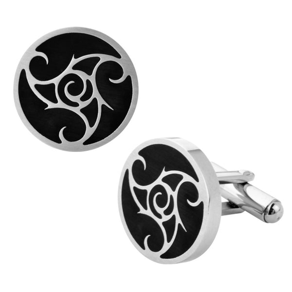 Inox Jewelry Men's Stainless Steel Black PVD Swirl Design Cuff Links