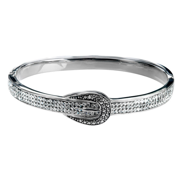 Inox Jewelry 316L Stainless Steel Clear Gem Buckle Bangle Bracelet