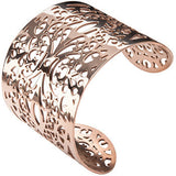 Inox Jewelry 316L Stainless Steel Rose Gold IP Filigree Flower Cuff Bracelet
