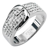 Inox Jewelry 316L Stainless Steel Clear Gem Buckle Ring