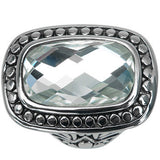 Inox Jewelry 316L Stainless Steel Faceted Glass Cocktail Ring